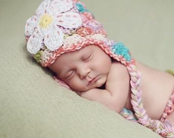 Crochet Newborn Hat, Baby Girl Photo Prop, Hospital Baby Hat