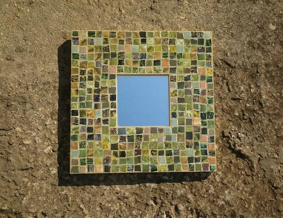 Wall Mirror & Wooden Frame Paper Mosaic Handmade Green Wall Decor