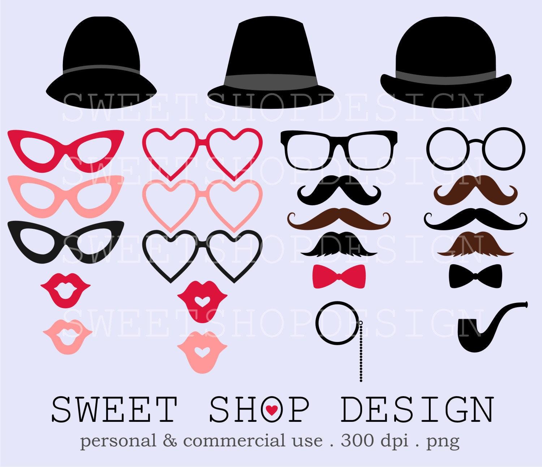 Costume Prop Moustache Bowler Hat Pipe Digital Clip Art