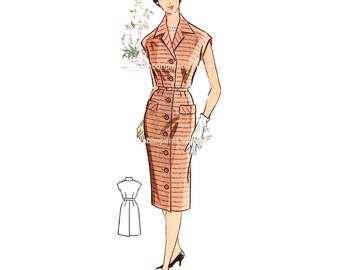 Plus Size (or any size) Vintage 1950s Womens Workwear Dress Pattern - PDF - Pattern No 82: Lori