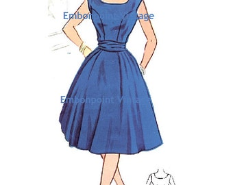 Plus Size (or any size) Vintage 1950s Dress Pattern - PDF - Pattern No 60 Kathryn