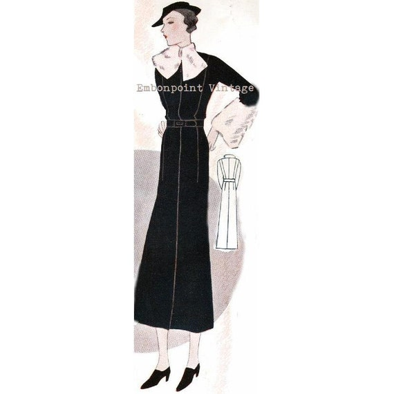 Plus Size (or any size) Vintage 1934 Dress Sewing Pattern - PDF - Pattern No 1532 Minnie