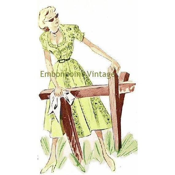 Plus Size (or any size) Vintage 1949 Dress Sewing Pattern - PDF - Pattern No 89 Helene