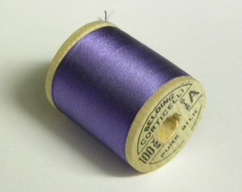 Corticelli Pure Silk Hand Sewing Embroidery Floss Thread 100 Yd. Wooden Spool Shade 8953 Violet Iris Purple