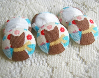 Fabric Covered Button Yellow Brown Kitten Red flower Set 6pcs,18mm, woman, spring, cute ,quilt,flower, handmade