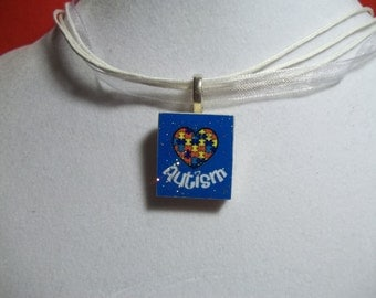 Heart Glitter Autism Awareness Puzzle handcrafted Scrabble Tile Pendant Necklace