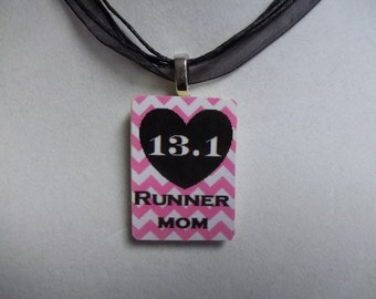 Choice of 13.1 Runner Mom handcrafted Chevron pattern Rummikub or scrabble tile Game Piece Necklace