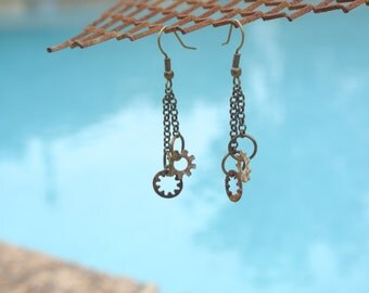 Hardware Jewelry - Industrial Earrings with Oxidized Washer Dangles