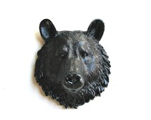BLACK Faux Taxidermy Small Bear Head wall mount Bob the bear in black // woodland // nursery decor // kids decor // office // gift