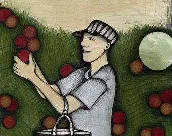 Autumn Apple Picking Illustration, Drawing of Man Picking Apples, Green Red Orange Autumn Poster,  Fall Harvest Art Print