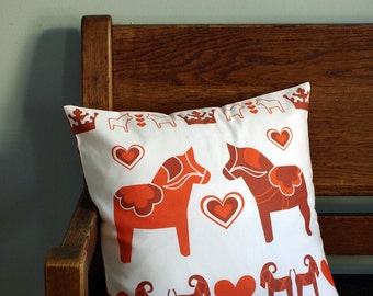 Swedish Dala Horses in Red Printed Pillow Cover 18x18