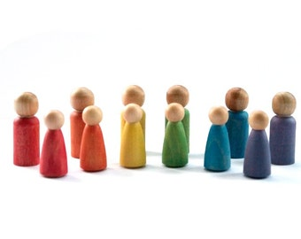 Waldorf Rainbow Peg People - Eco Friendly Color Matching Game - All Natural - Hand Stained - Learning Toy