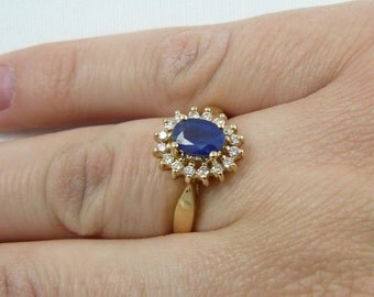 14k Yellow Gold Sapphire and Diamond Cocktail Ring