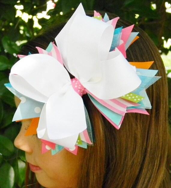 Hair Bows Boutique hair bow Girls hair bow Stacked hair bow Pink White Green Girls hair accessories