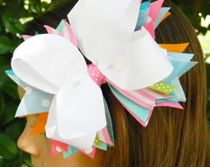 Hair Bows Boutique hair bow Girls hair bow Stacked hair bow Pink White Green Girls hair accessories