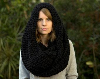 Black Infinity Scarf, Chunky Scarf, Women's Winter Accessories, Crochet
