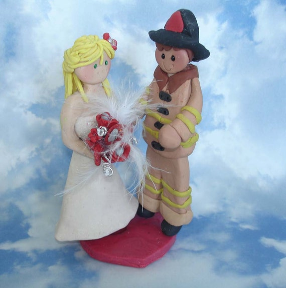 Polymer Clay Handcrafted Cake Topper Bride Firefighter Groom