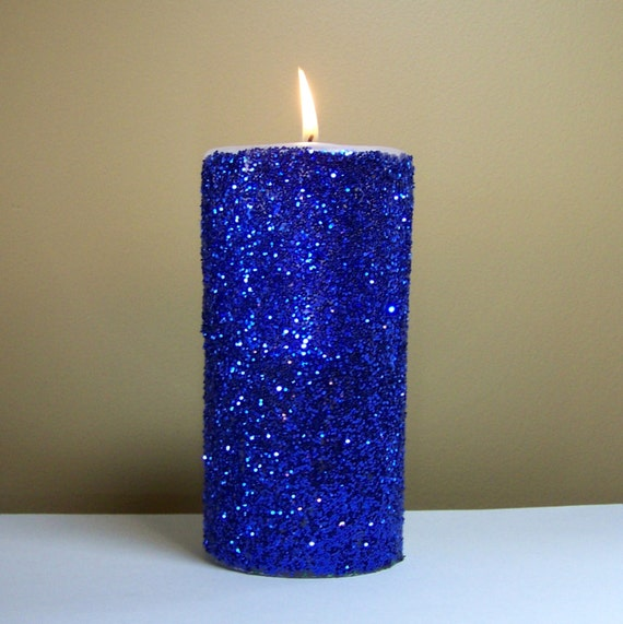 Blue glitter pillar candle wedding reception by for Shimmer pillar candle