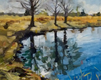Oil Painting of Trees at the Shoreline