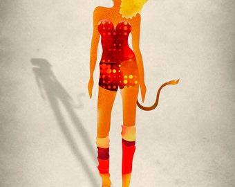 Leo Zodiac Art Print, Fashion Illustration, July August Birthday Gift
