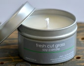 Fresh Cut Grass Soy Candle Tin 4 oz. - summer soy candle - grass soy candle - spring soy candle - fresh soy candle - crisp soy candle