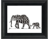 Elephants - Custom Personalized Newborn Print UNFRAMED