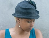 Black Straw Hat, Newly Hand Blocked -1920's Vintage Look-Parasisal Straw- Blue/Black Iridescent Coque Feathers