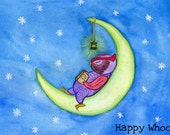 "Kids Wall Art - Owl Art Print - ""Sleeping Owl"" - Night Moon Sky - 7 x 5 - CLOSEOUT SALE"