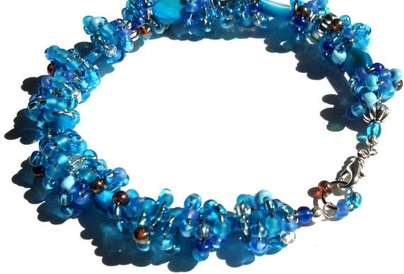 Ocean Blue Anklet, Seedbead, Mother of Pearl