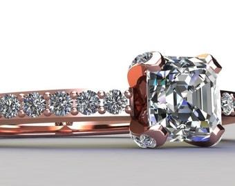 Asscher Cut Diamond Engagement Ring Half Eternity 14K Rose Gold