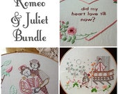 Romeo & Juliet Bundle - Set of 3 Embroidery Patterns PDF - Includes Stitch Guide - Shakespeare