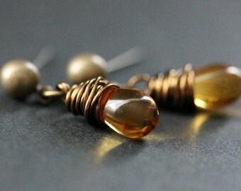 BRONZE Earrings - Goldenrod Amber Teardrop Earrings. Dangle Earrings. Post Earrings. Handmade Jewelry.