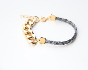 ON SALE: Christmas gift - Arm Candy - Gold chunky chain with Grey Leather braid Bracelet - 24k gold plated
