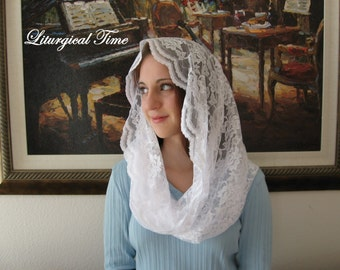 Chapel Veil  ~ Eternity Veil Headcovering -The Infinity Scarf Mantilla Veil Original, in White - EV1W