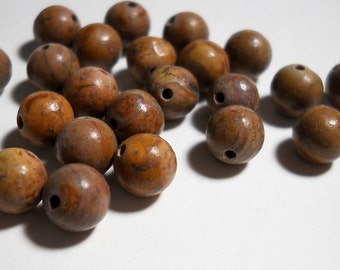 Brown Wood Desert Jasper Smooth Round Ball Beads 6mm - 7mm