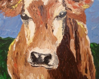 Original Acrylic Painting Cow in Meadow Gallery Wrap Stretch Canvas 16x20 Artist Signed Western Cowboy Cowgirl Decor