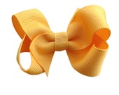 Yellow gold hair bow - yellow orange bow, toddler bow