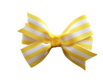 Yellow striped hair bow - 3 inch hair bows, hair bows, girls bows, baby bows, girls hair bows, toddler hair bows, yellow hair bow, hair bow