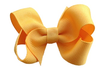 3 inch Yellow gold hair bow - yellow orange bow, toddler bow, 3 inch bows, girls hair bows, baby bows, girls bows, boutique bows