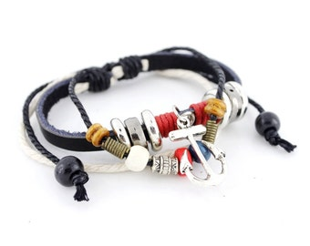 Cool Black Leather Cord Bracelet with Anchor Charm