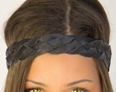 Black Leather Hippie Headband, Braided Leather Headband, Adjustable