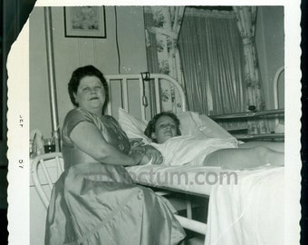 Opal with Sheila After Her Appendectomy Vintage Photo Found Vernacular Photograph Hospital Bed