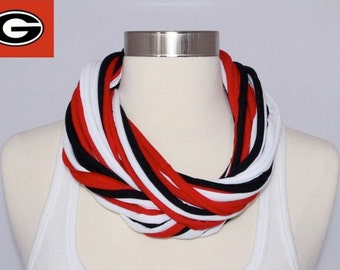 UGA Bulldogs/ Atlanta Falcons T-shirt Infinity Scarf - Red, Black & White Mix, University of Georgia, SEC Championship scarf