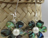 1- Wire wrapped abalone flower earrings - freshwater pearl - Sterling silver - Gift box included - FREE U.S. shipping - omg jewelry