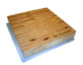 """Cutting Board Personalized With Name - End Grain Maple 14""""x14""""x2"""" with Feet"""