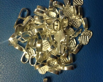 50 Silver Plated Glue-on Bails, Bulk Buy