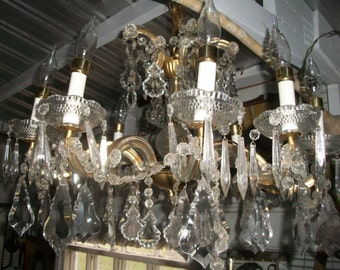 Chandelier - Crystal- Made in Italy  - 10 arms , ALL glass/ crystal over brass arms. Vintage -Mid Century