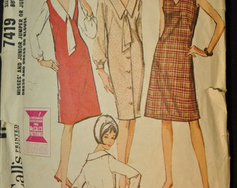 1960s Misses' Jumper or Dress Vintage Sewing Pattern -McCall's 7419 -Size 14, Bust 34