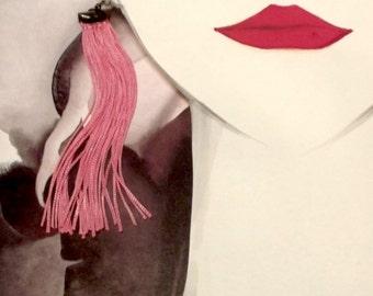 LONG FRINGES EARRINGS, neon pink  earrings