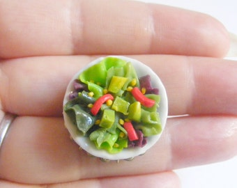 Food Jewelry Avocado Salad Miniature Food Ring - Miniature Food Jewellery,Handmade Jewelry Ring,Mini Food Jewelry,Vegetarian Jewelry,Vegan